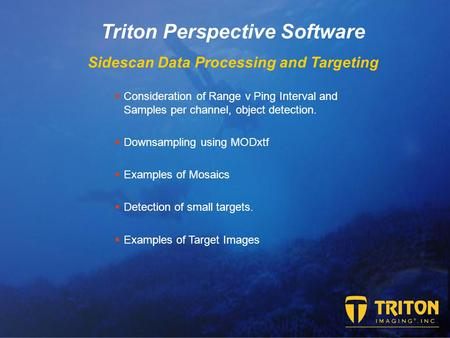 Triton Perspective Software Sidescan Data Processing and Targeting  Consideration of Range v Ping Interval and Samples per channel, object detection.