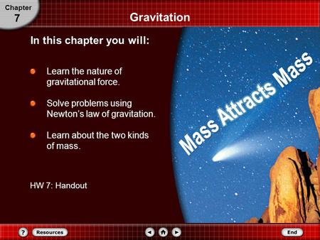 Gravitation Learn the nature of gravitational force. Solve problems using Newton's law of gravitation. Learn about the two kinds of mass. Chapter 7 In.