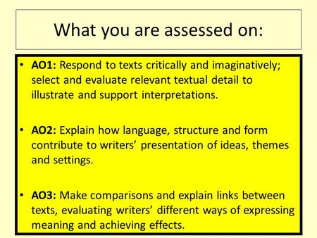 What you are assessed on: