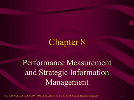 Performance Measurement and Strategic Information Management