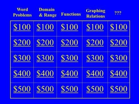 Graphing Relations Functions Domain & Range ??? $100 $200 $300 $400 $500 Word Problems.