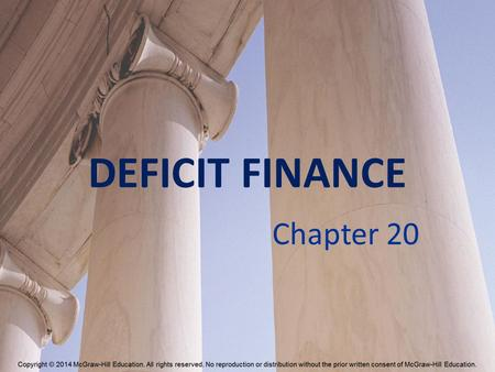 DEFICIT FINANCE Chapter 20. How Big Is the Deficit? Deficit Surplus On-budget deficit Off-budget deficit 20-2.