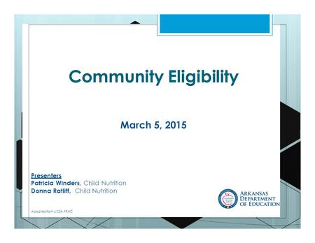 Community Eligibility March 5, 2015 Presenters Patricia Winders, Child Nutrition Donna Ratliff, Child Nutrition Adapted from USDA, FRAC.