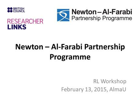 Newton – Al-Farabi Partnership Programme RL Workshop February 13, 2015, AlmaU.