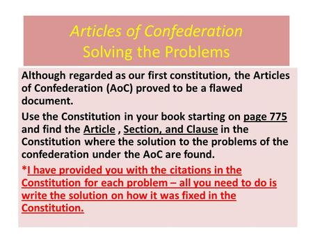 Articles of Confederation Solving the Problems