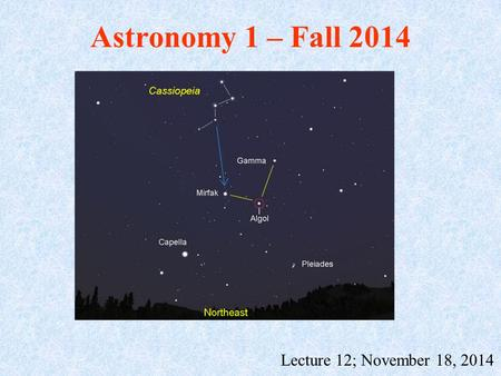 Astronomy 1 – Fall 2014 Lecture 12; November 18, 2014.