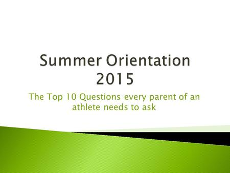 The Top 10 Questions every parent of an athlete needs to ask.