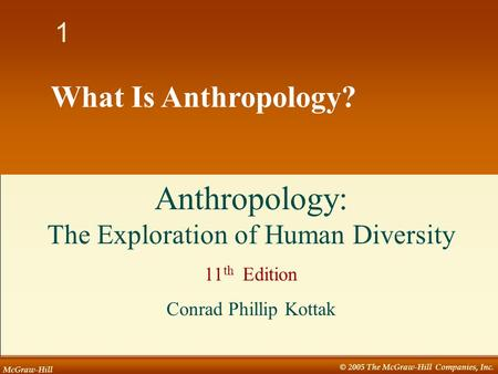 McGraw-Hill © 2005 The McGraw-Hill Companies, Inc. 1 1 What Is Anthropology? Anthropology: The Exploration of Human Diversity 11 th Edition Conrad Phillip.