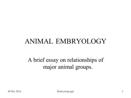 23 Oct. 2014Embryology.ppt1 ANIMAL EMBRYOLOGY A brief essay on relationships of major animal groups.