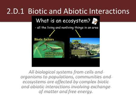 2.D.1 Biotic and Abiotic Interactions