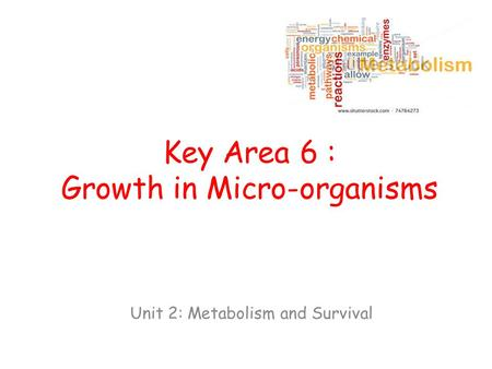 Key Area 6 : Growth in Micro-organisms Unit 2: Metabolism and Survival.