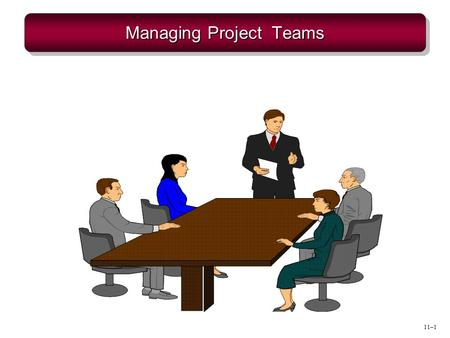 11–1 Managing Project Teams. 11–2 Teams & Teamwork  Team  A small group of people with complementary skills, who work together to achieve a shared purpose.