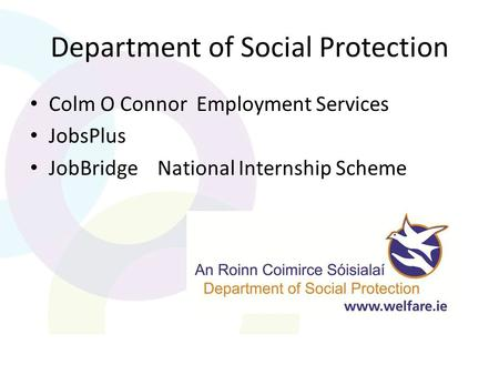 Department of Social Protection Colm O Connor Employment Services JobsPlus JobBridge National Internship Scheme.