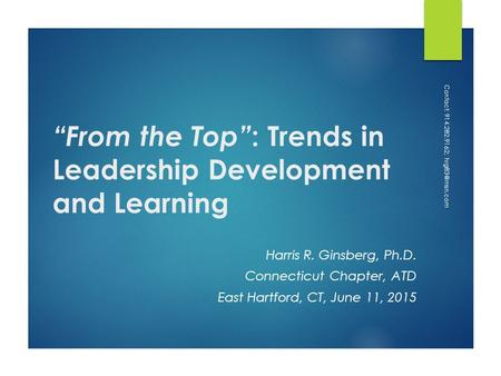 """From the Top"": Trends in Leadership Development and Learning"