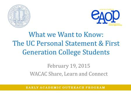 February 19, 2015 WACAC Share, Learn and Connect
