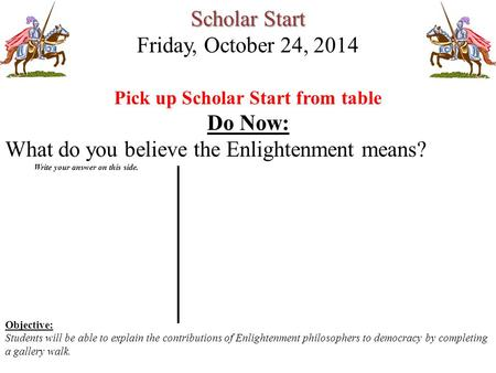 Scholar Start Friday, October 24, 2014