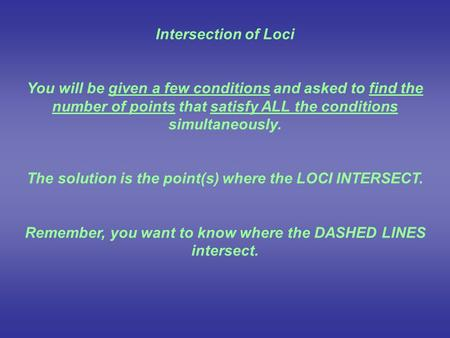 Intersection of Loci You will be given a few conditions and asked to find the number of points that satisfy ALL the conditions simultaneously. The solution.