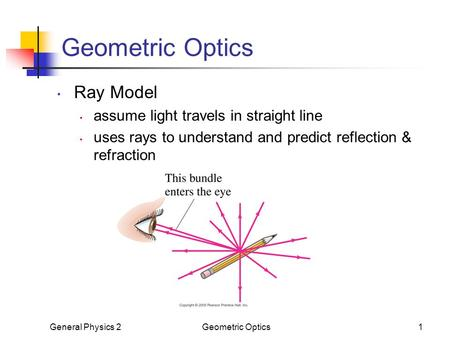 Geometric Optics Ray Model assume light travels in straight line