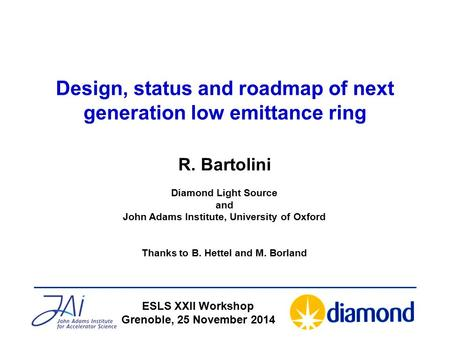 Design, status and roadmap of next generation low emittance ring