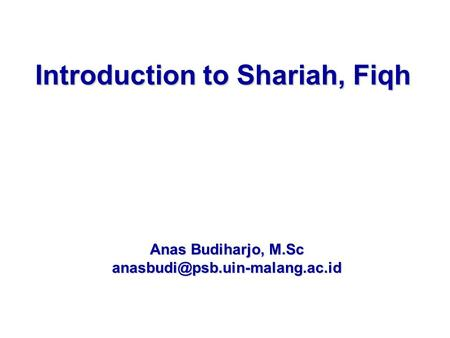 Introduction to Shariah, Fiqh