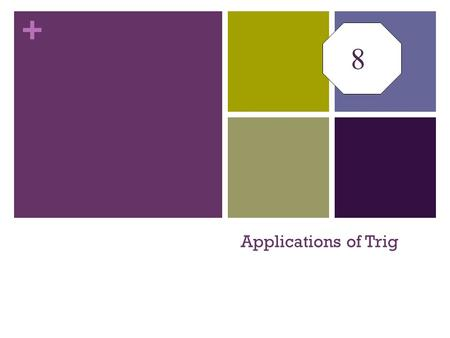 8 Applications of Trig.