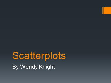 Scatterplots By Wendy Knight. Review of Scatterplots  Scatterplots – Show the relationship between 2 quantitative variables measured on the same individual.