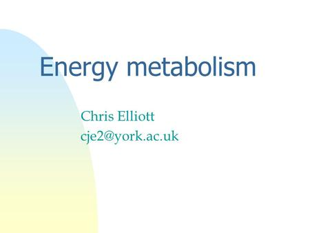 Chris Elliott cje2@york.ac.uk Energy metabolism Chris Elliott cje2@york.ac.uk.