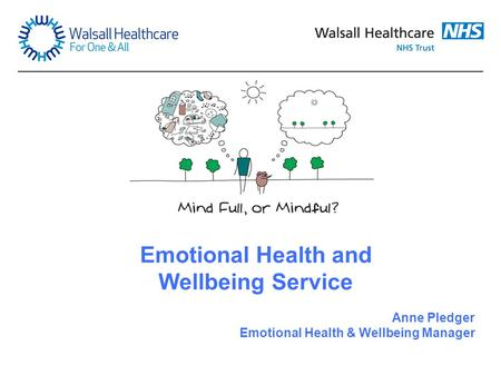 Emotional Health and Wellbeing Service Anne Pledger Emotional Health & Wellbeing Manager.