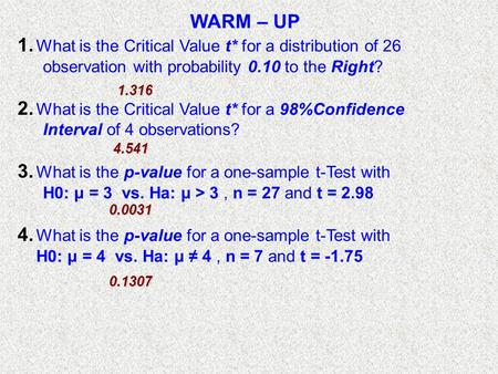 WARM – UP 1. What is the Critical Value t* for a distribution of 26 observation with probability 0.10 to the Right? 2. What is the Critical Value t* for.