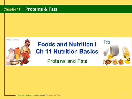 Foods and Nutrition I Ch 11 Nutrition Basics