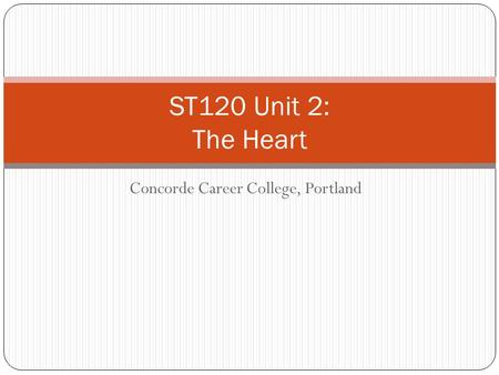 Concorde Career College, Portland ST120 Unit 2: The Heart.