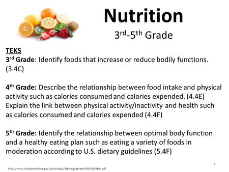 Nutrition 3 rd -5 th Grade 1  TEKS 3 rd Grade: Identify foods that increase or reduce.