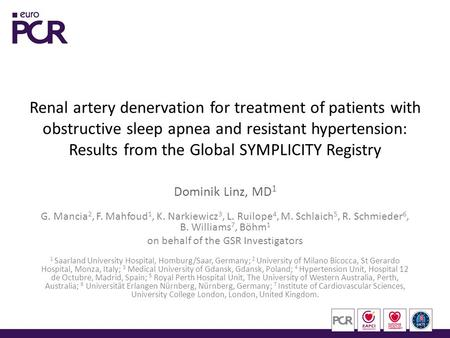 Renal artery denervation for treatment of patients with <strong>obstructive</strong> <strong>sleep</strong> <strong>apnea</strong> and resistant hypertension: Results from the Global SYMPLICITY Registry.
