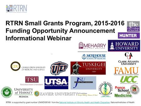 RTRN Small Grants Program, Funding Opportunity Announcement