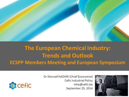 Dr Moncef HADHRI (Chief Economist) Cefic Industrial Policy September 25, 2014 The European Chemical Industry: Trends and Outlook ECSPP Members.