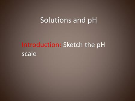 Introduction: Sketch the pH scale