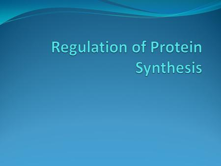 Regulation of Protein Synthesis