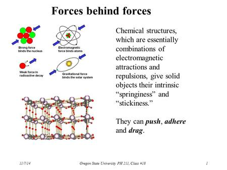Forces behind forces Chemical structures, which are essentially combinations of electromagnetic attractions and repulsions, give solid objects their intrinsic.