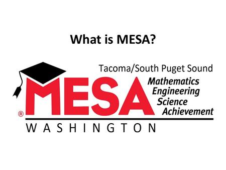 What is MESA?. M athematics MESA stands for E ngineering S cience A chievement.