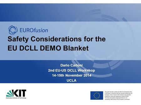 Safety Considerations for the EU DCLL DEMO Blanket Dario Carloni 2nd EU-US DCLL Workshop 14-15th November 2014 UCLA.