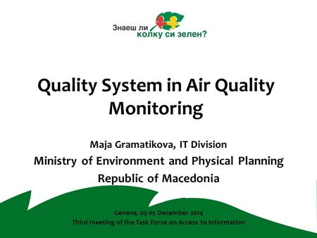 Quality System in Air Quality Monitoring