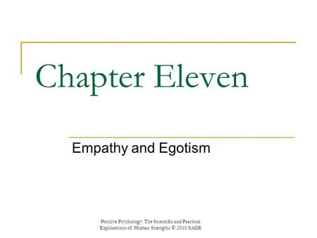 Chapter Eleven Empathy and Egotism