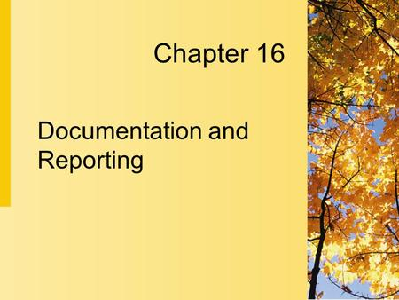 Chapter 16 Documentation and Reporting. 16-2 Copyright 2004 by Delmar Learning, a division of Thomson Learning, Inc. Documentation as Communication 