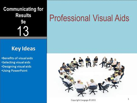 Communicating for Results 9e 13 Key Ideas Benefits of visual aids Selecting visual aids Designing visual aids Using PowerPoint Professional Visual Aids.