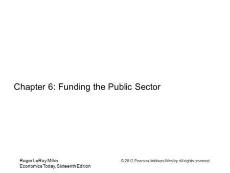 Chapter 6: Funding the Public Sector