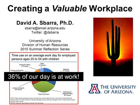 Creating a Valuable Workplace David A. Sbarra, Ph.D. University of Arizona Division of Human Resources 2015.