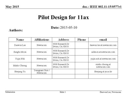 Submission Daewon Lee, NewracomSlide 1 doc.: IEEE 802.11-15/0577r1May 2015 Pilot Design for 11ax Date: 2015-05-10 Authors: