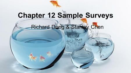 Chapter 12 Sample Surveys Richard Dong & Stanley Chen.