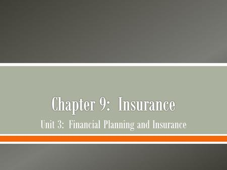 Unit 3: Financial Planning and Insurance
