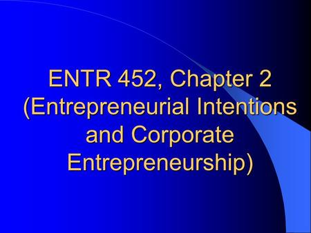 (Entrepreneurial Intentions